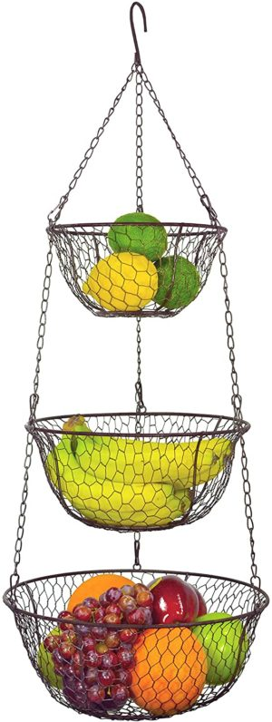 5. MyGift 3 Tier Chain Hanging Baskets