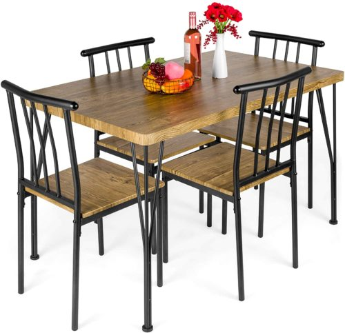 9. Best Choice Products 5-Piece Metal and Wood Dining Table
